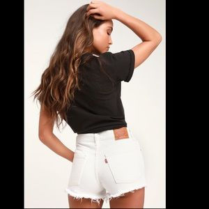 Levi's 501 White Distressed Denim Mid Rise Shorts